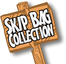 skip bag wood sign